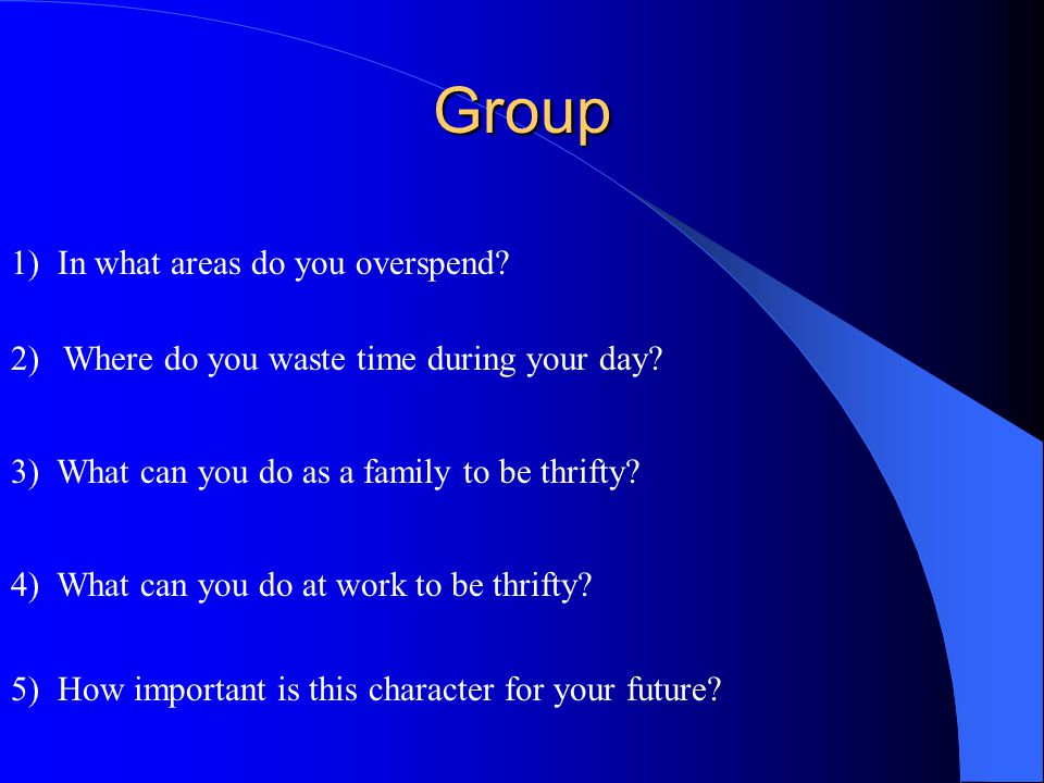 Group 1) In what areas do you overspend