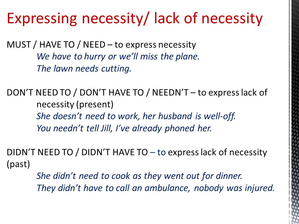 Expressing necessity/ lack of necessity