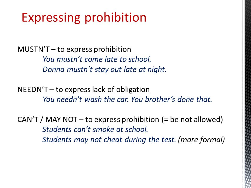Expressing prohibition