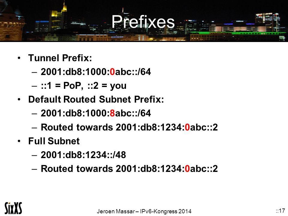 Prefixes Tunnel Prefix: 2001:db8:1000:0abc::/64 ::1 = PoP, ::2 = you