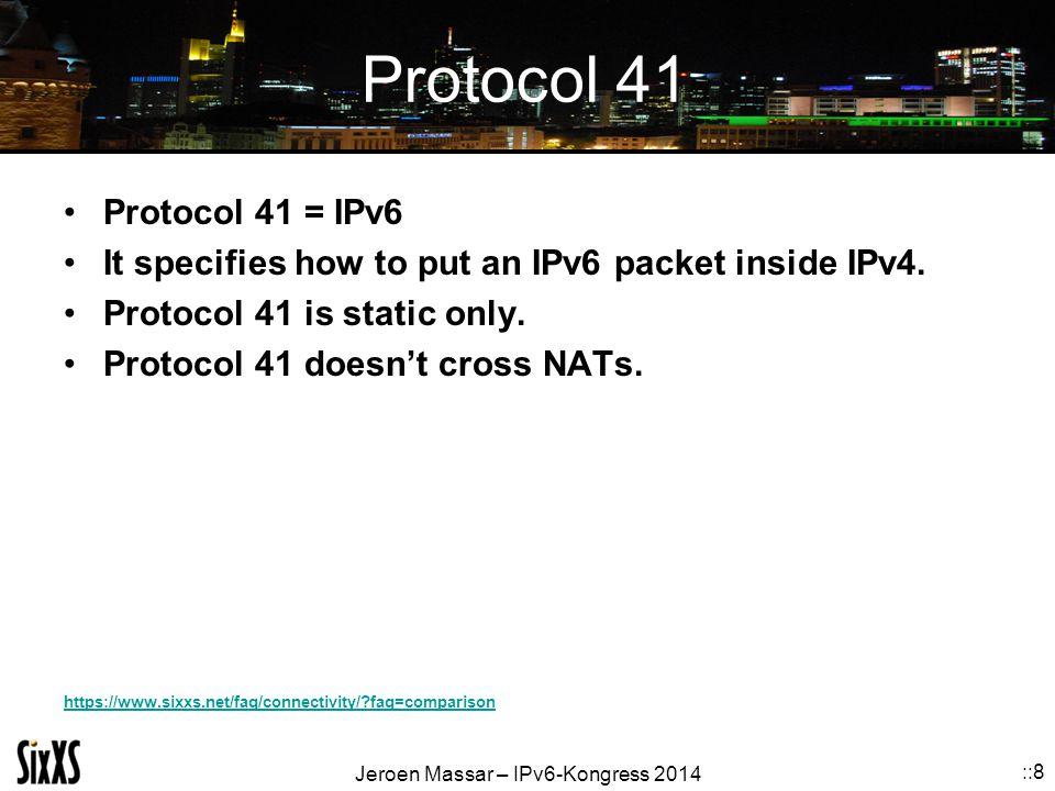 Protocol 41 Protocol 41 = IPv6