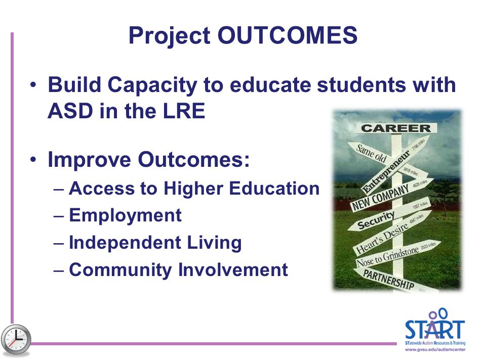Project OUTCOMES Build Capacity to educate students with ASD in the LRE. Improve Outcomes: Access to Higher Education.