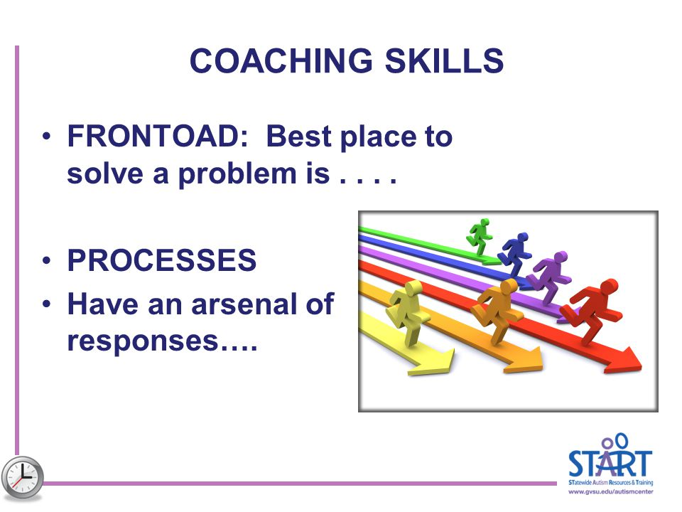 COACHING SKILLS FRONTOAD: Best place to solve a problem is . . . .