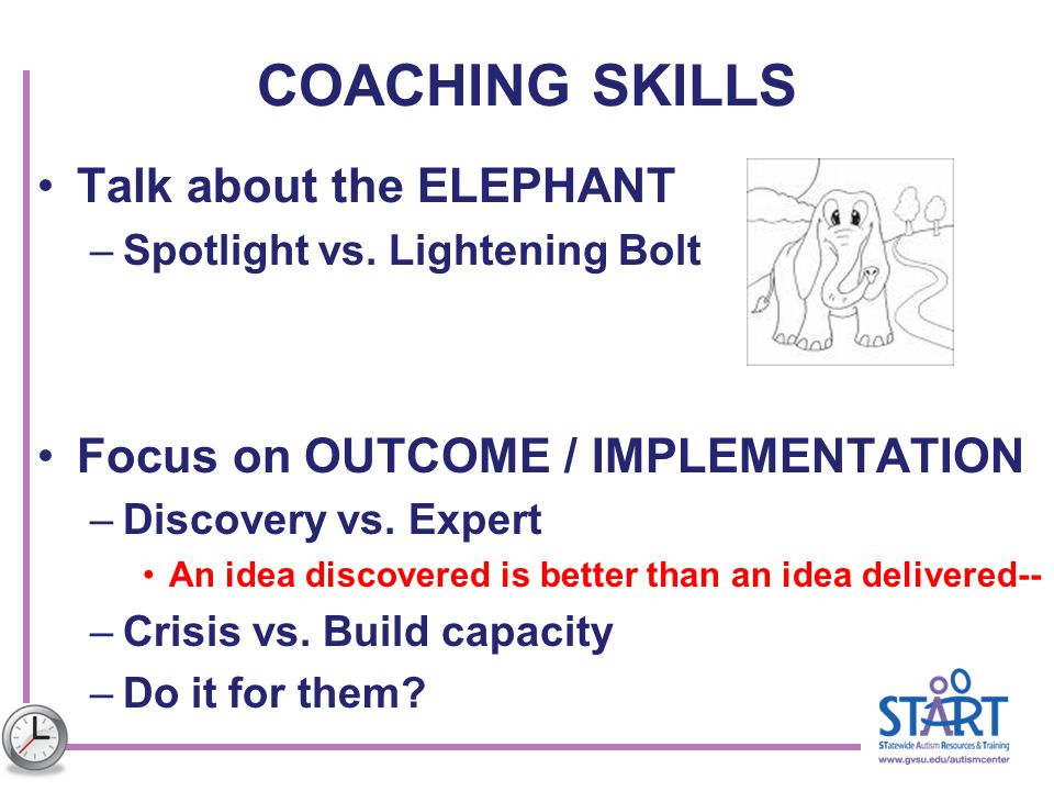 COACHING SKILLS Talk about the ELEPHANT