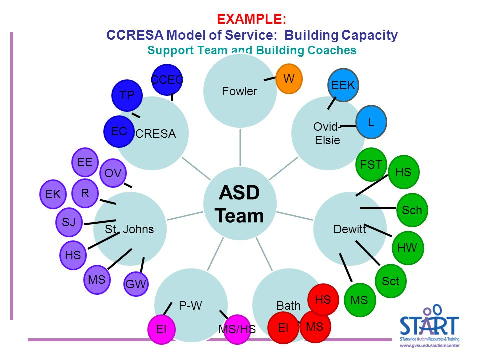 EXAMPLE: CCRESA Model of Service: Building Capacity Support Team and Building Coaches