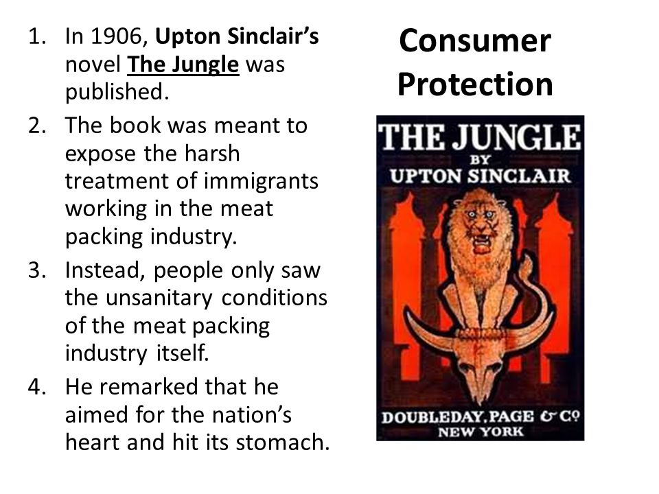 In 1906, Upton Sinclair's novel The Jungle was published.