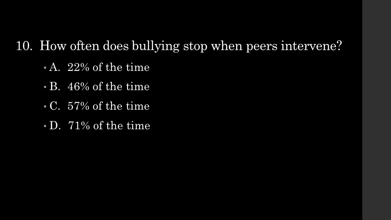 10. How often does bullying stop when peers intervene