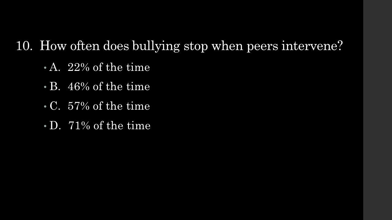 10. How often does bullying stop when peers intervene