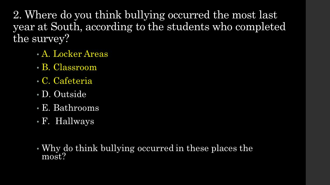 2. Where do you think bullying occurred the most last year at South, according to the students who completed the survey
