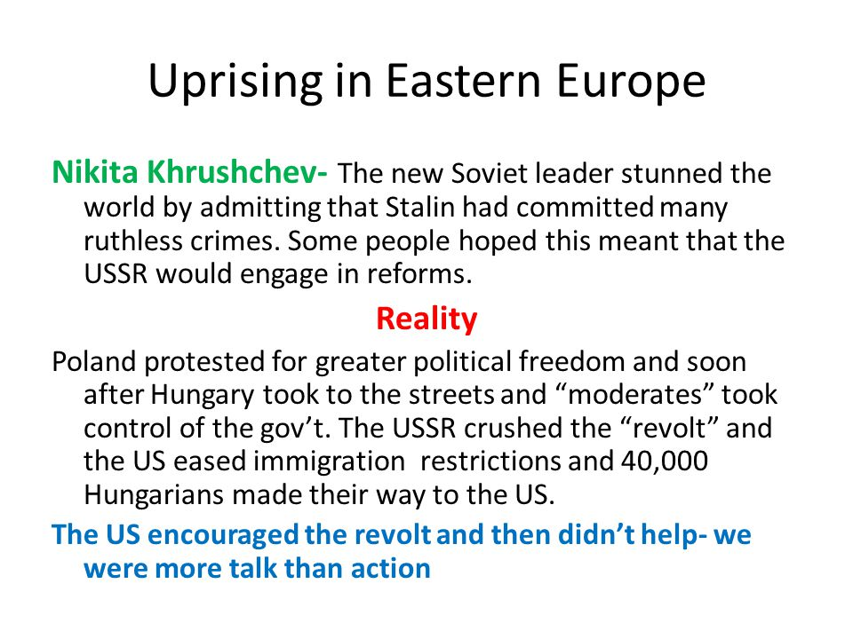 Uprising in Eastern Europe