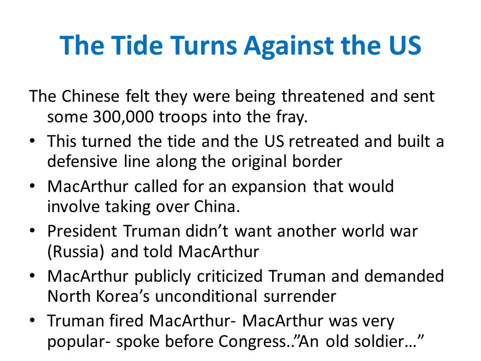 The Tide Turns Against the US