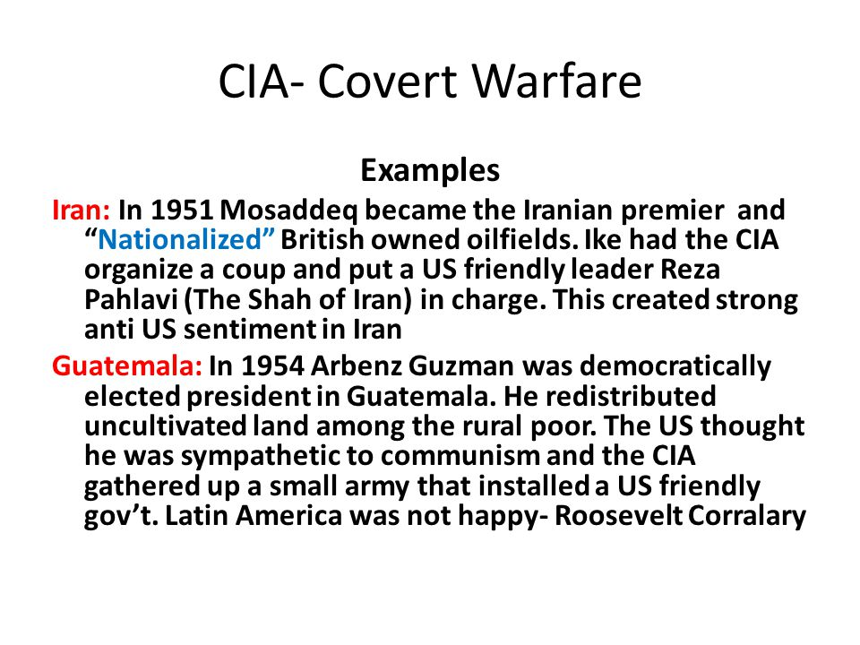 CIA- Covert Warfare Examples