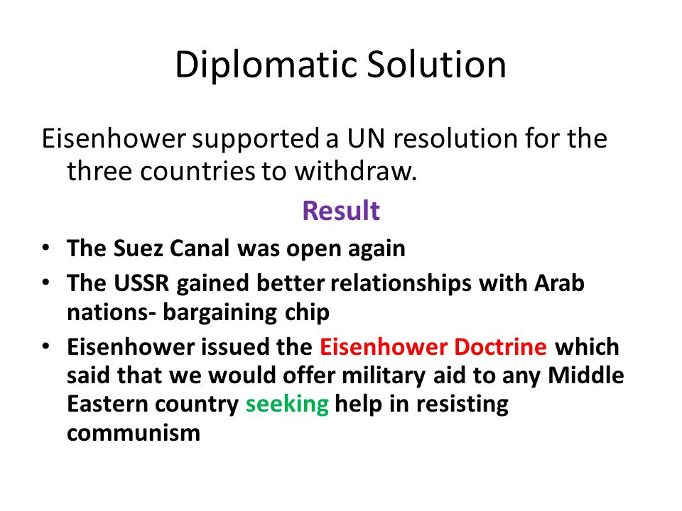 Diplomatic Solution Eisenhower supported a UN resolution for the three countries to withdraw. Result.