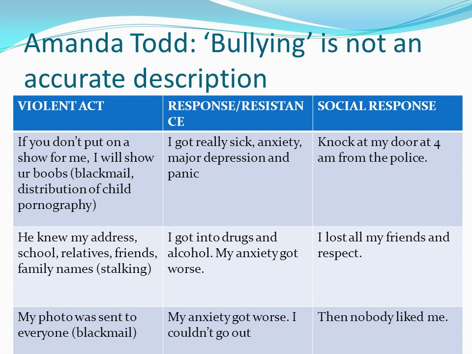 Amanda Todd: 'Bullying' is not an accurate description