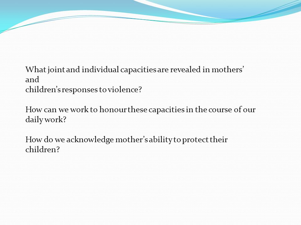 What joint and individual capacities are revealed in mothers' and