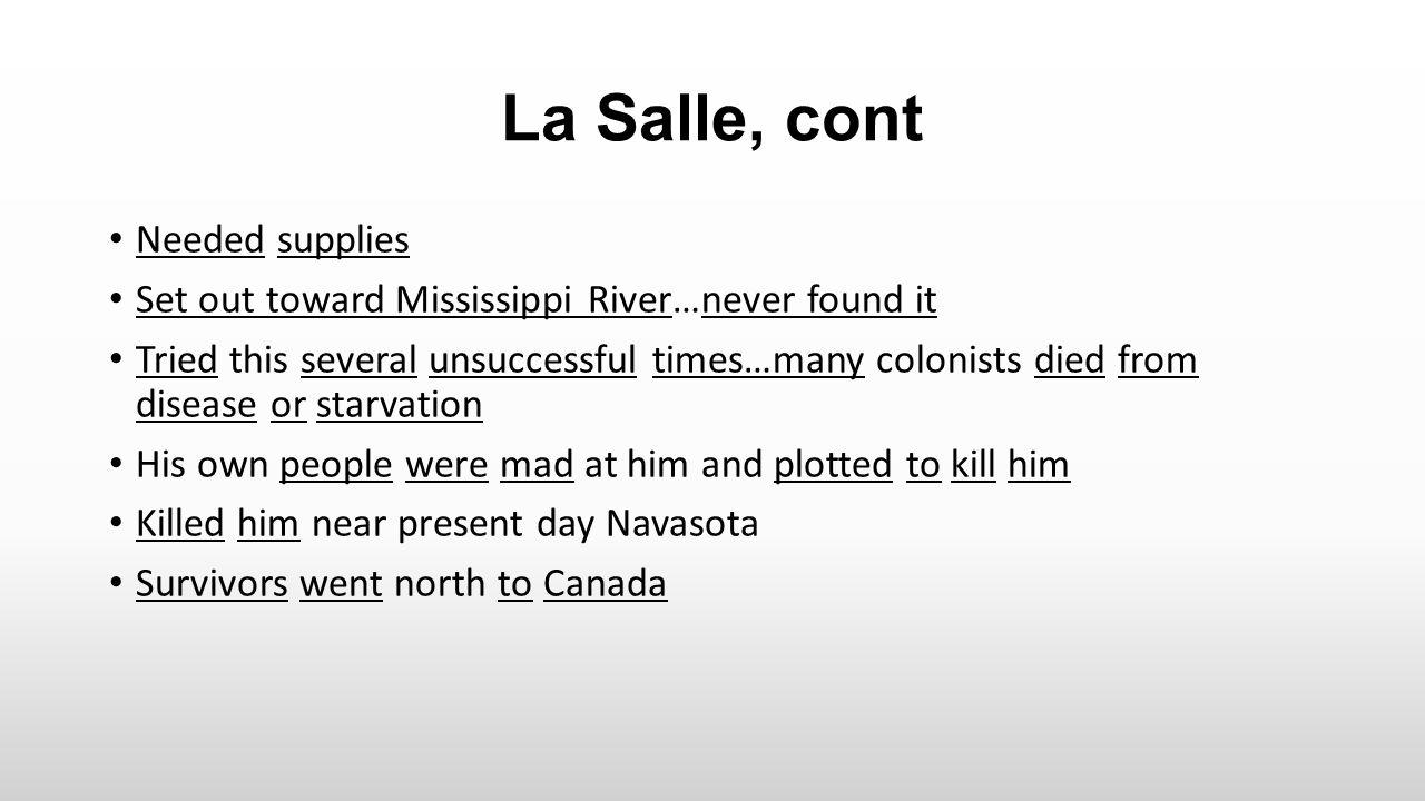 La Salle, cont Needed supplies