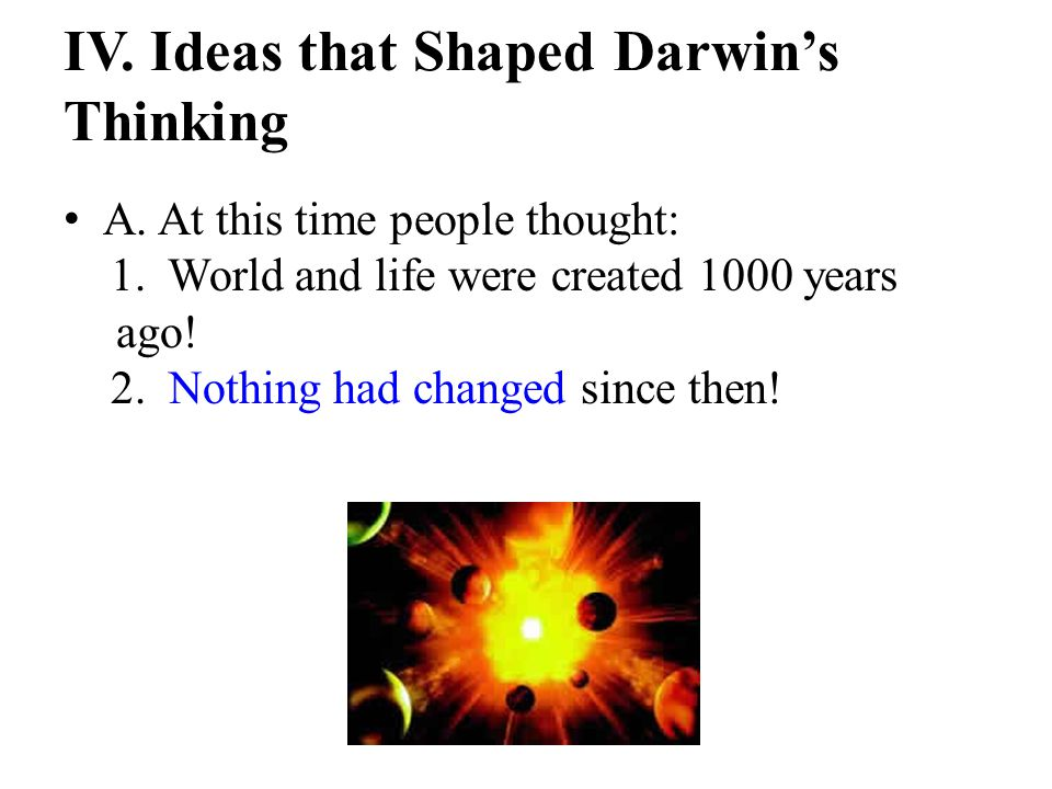 IV. Ideas that Shaped Darwin's Thinking