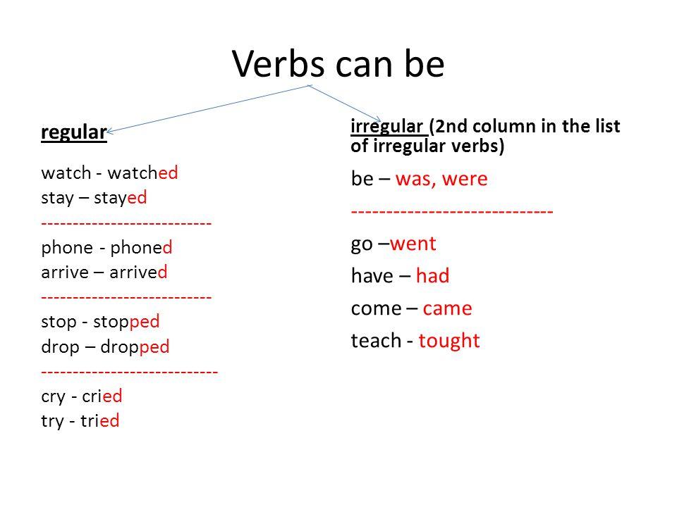 Verbs can be regular. irregular (2nd column in the list of irregular verbs)