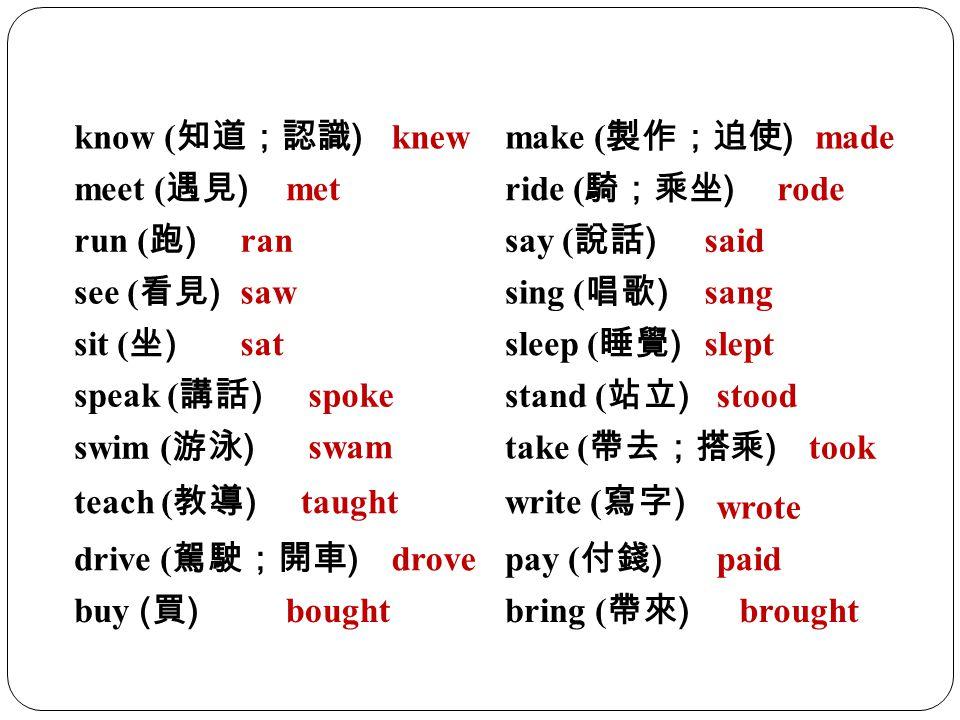 know (知道;認識) knew. make (製作;迫使) made. meet (遇見) met. ride (騎;乘坐) rode. run (跑) ran. say (說話)