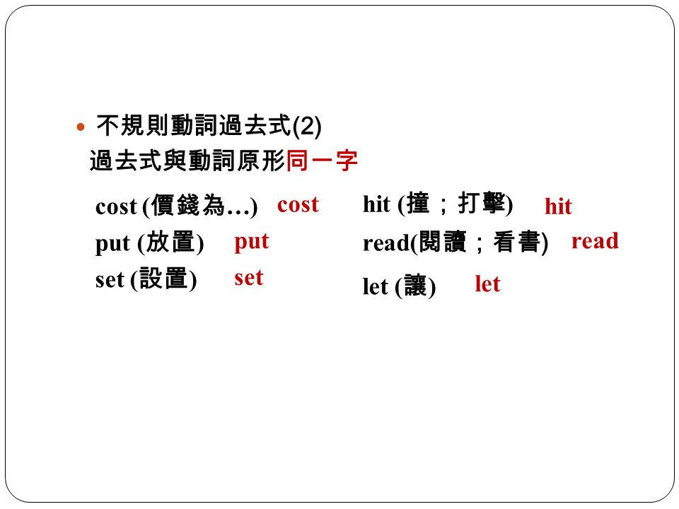 不規則動詞過去式(2) 過去式與動詞原形同一字. cost (價錢為…) cost. hit (撞;打擊) hit. put (放置) put. read(閱讀;看書) read. set (設置)