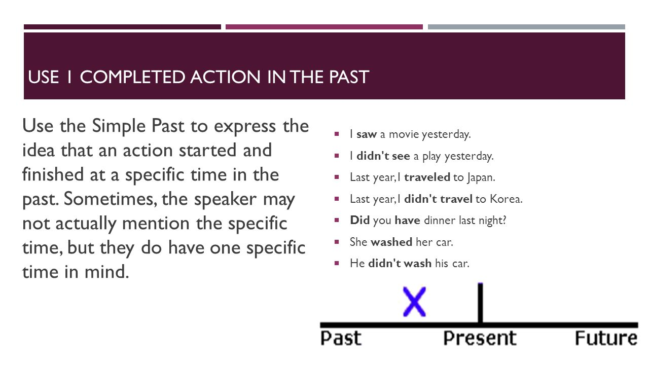 USE 1 Completed Action in the Past