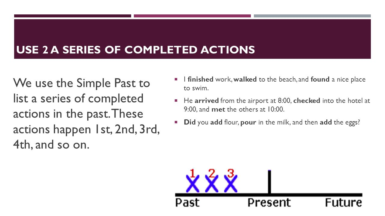 USE 2 A Series of Completed Actions