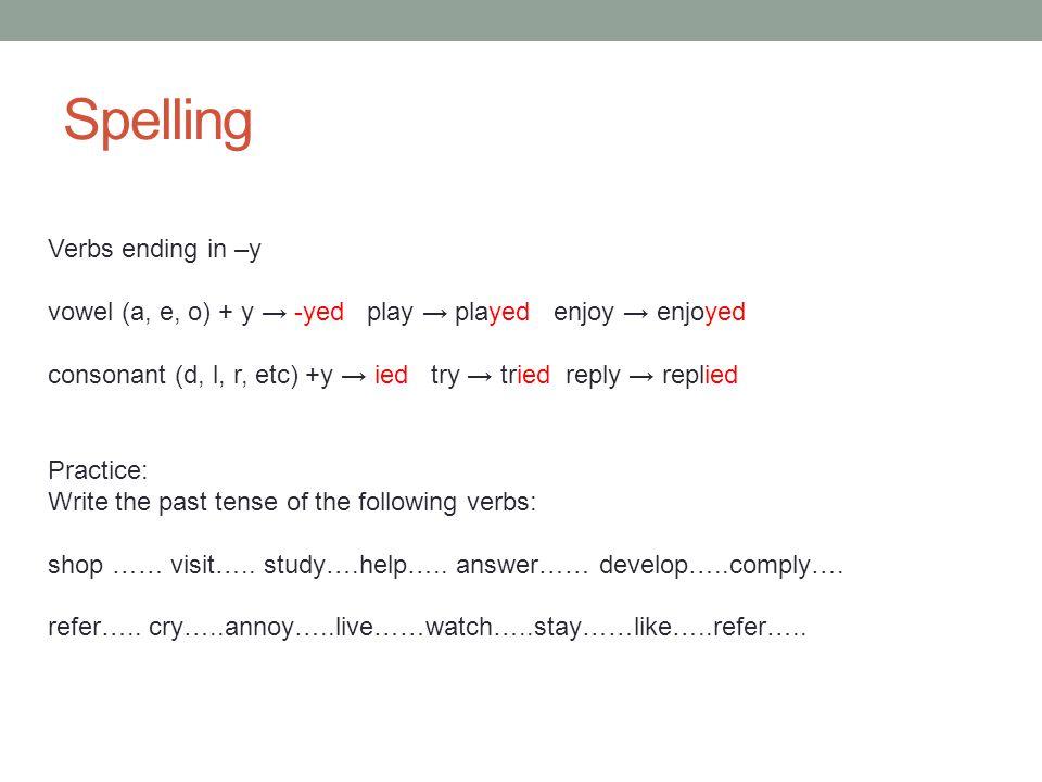 Spelling Verbs ending in –y