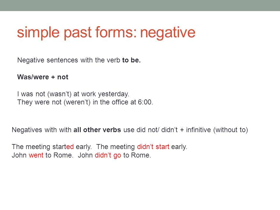 simple past forms: negative
