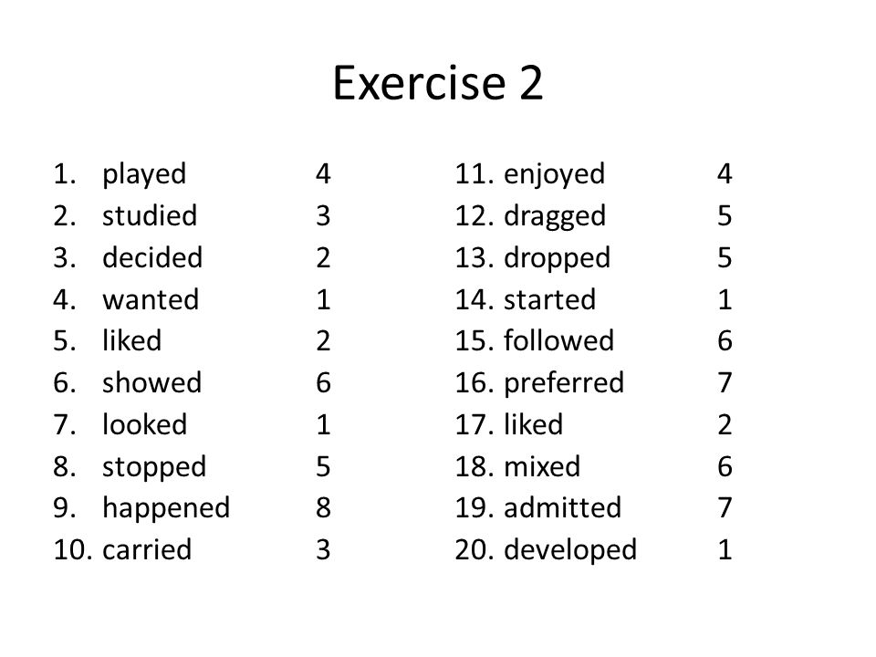 Exercise 2 played 4 studied 3 decided 2 wanted 1 liked 2 showed 6