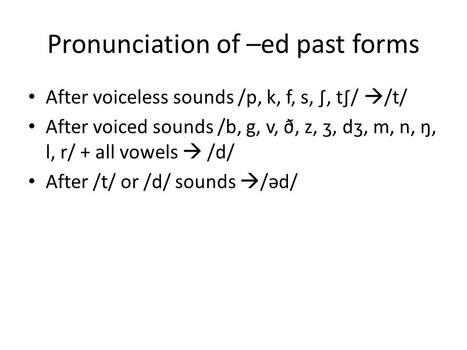 Pronunciation of –ed past forms
