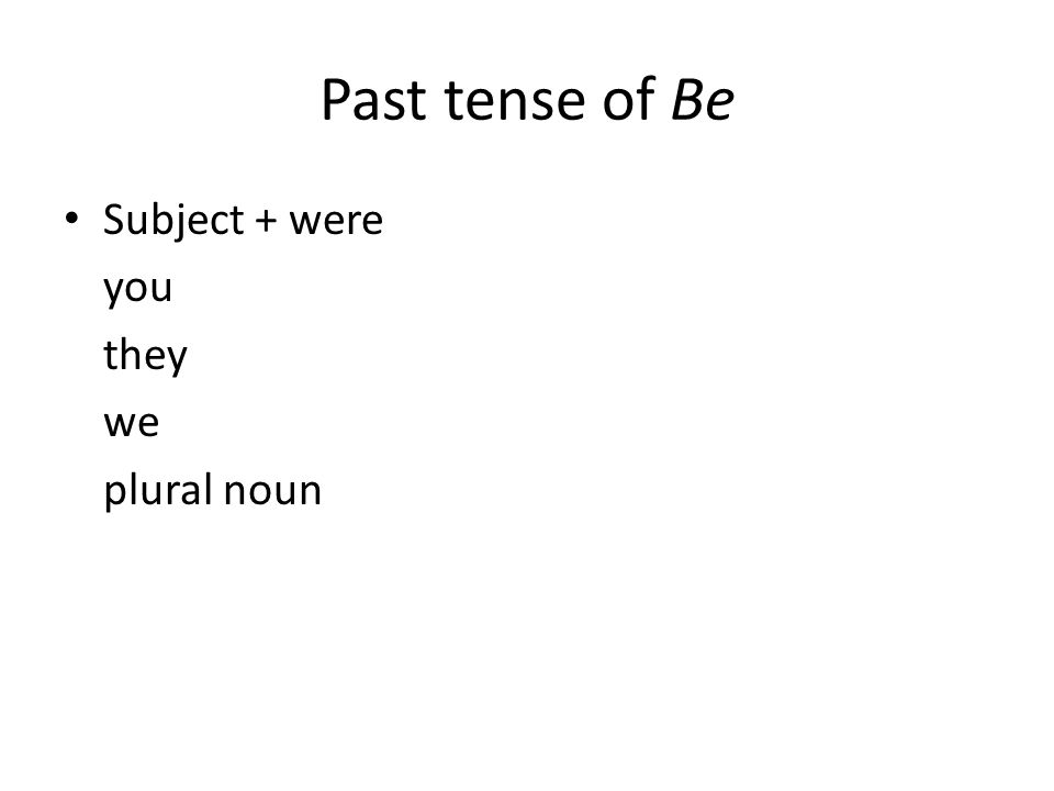 Past tense of Be Subject + were you they we plural noun