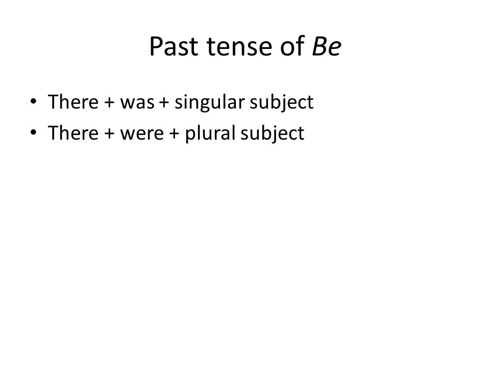 Past tense of Be There + was + singular subject