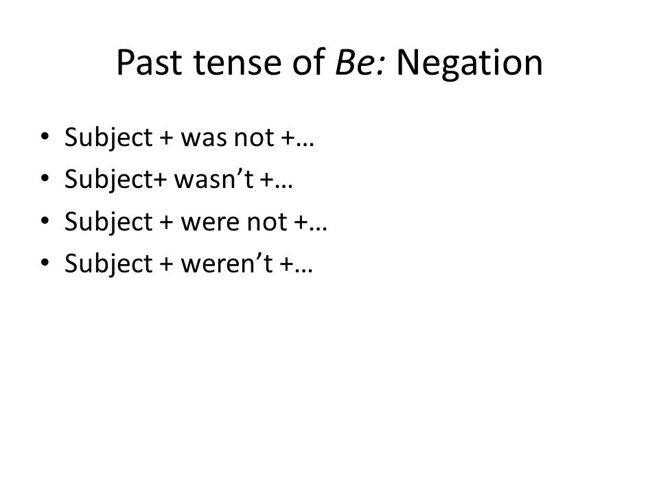 Past tense of Be: Negation