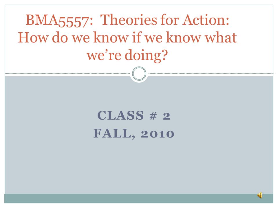 BMA5557: Theories for Action: How do we know if we know what we're doing