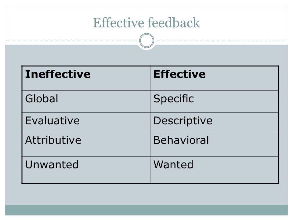 Effective feedback Ineffective Effective Global Specific Evaluative