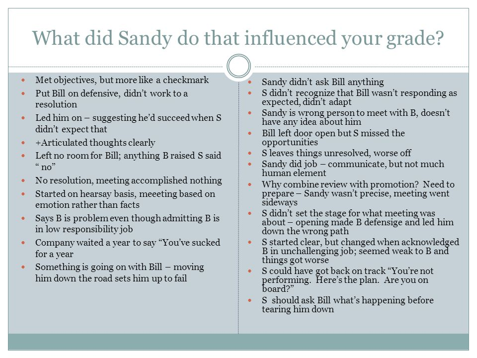 What did Sandy do that influenced your grade