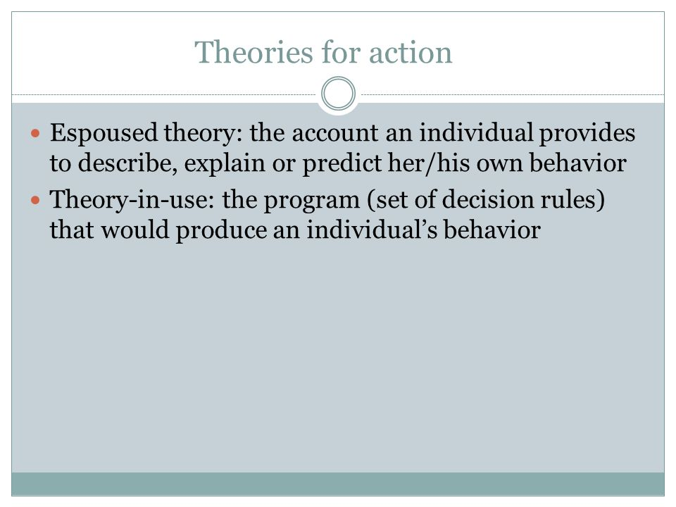 Theories for action Espoused theory: the account an individual provides to describe, explain or predict her/his own behavior.