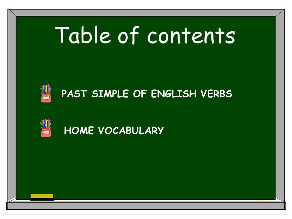 Table of contents PAST SIMPLE OF ENGLISH VERBS HOME VOCABULARY