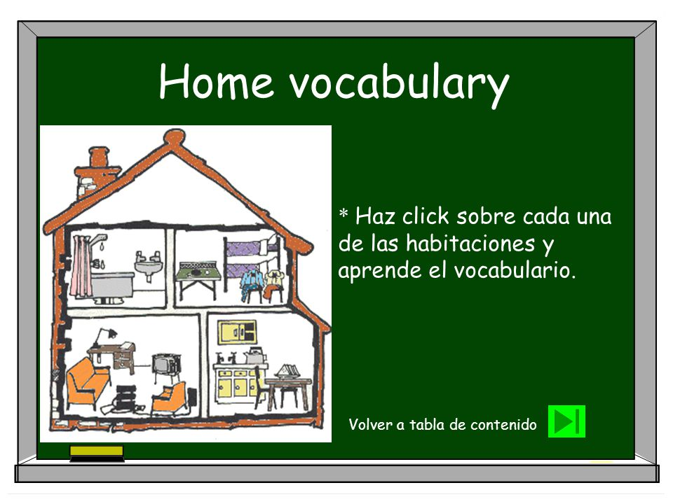 Home vocabulary * Haz click sobre cada una de las habitaciones y aprende el vocabulario.