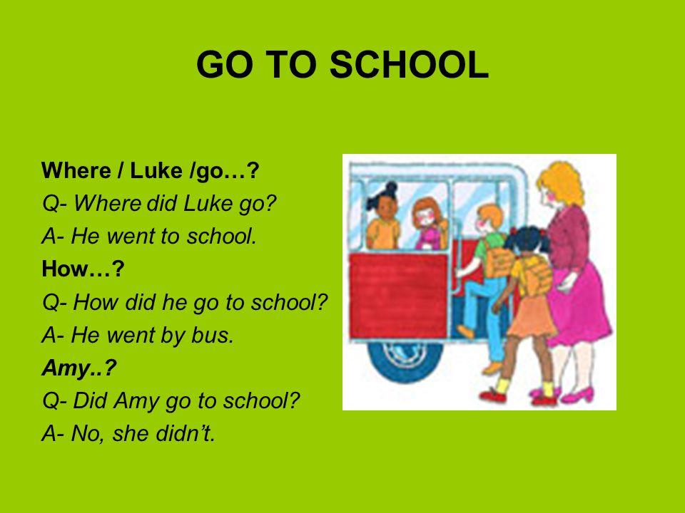 GO TO SCHOOL Where / Luke /go… Q- Where did Luke go