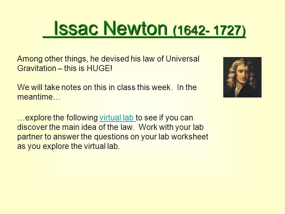 Issac Newton (1642- 1727)