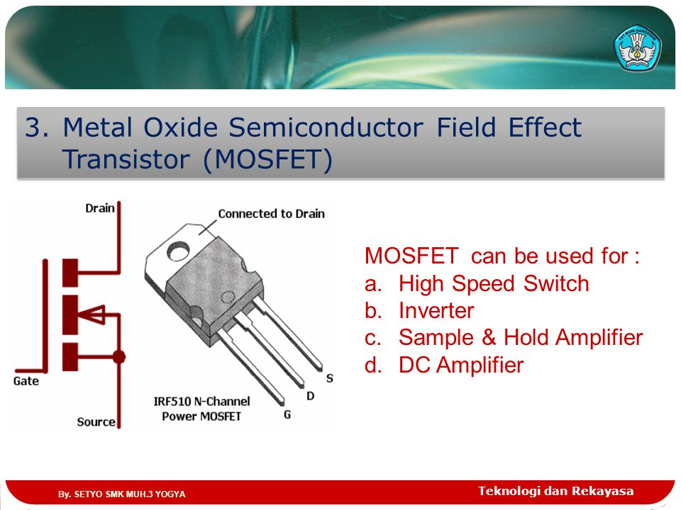 Metal Oxide Semiconductor Field Effect Transistor (MOSFET)