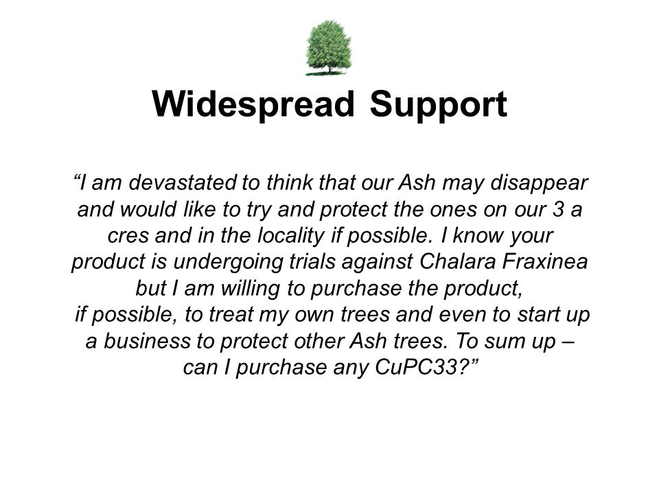 Widespread Support I am devastated to think that our Ash may disappear and would like to try and protect the ones on our 3 a.