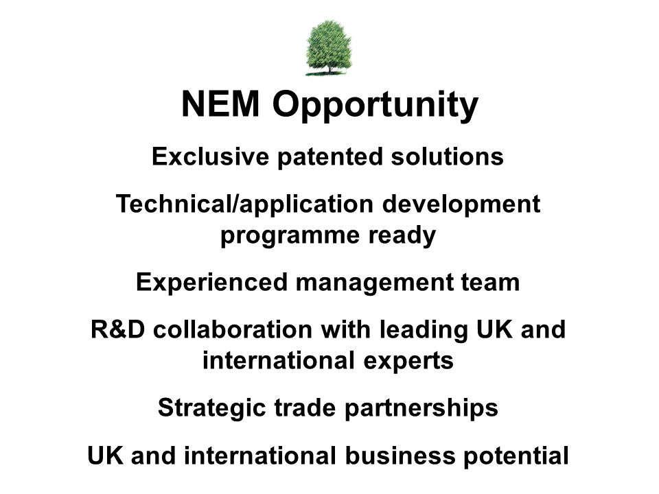 NEM Opportunity Exclusive patented solutions