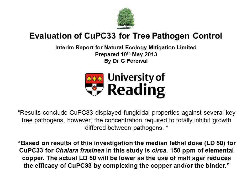 Evaluation of CuPC33 for Tree Pathogen Control