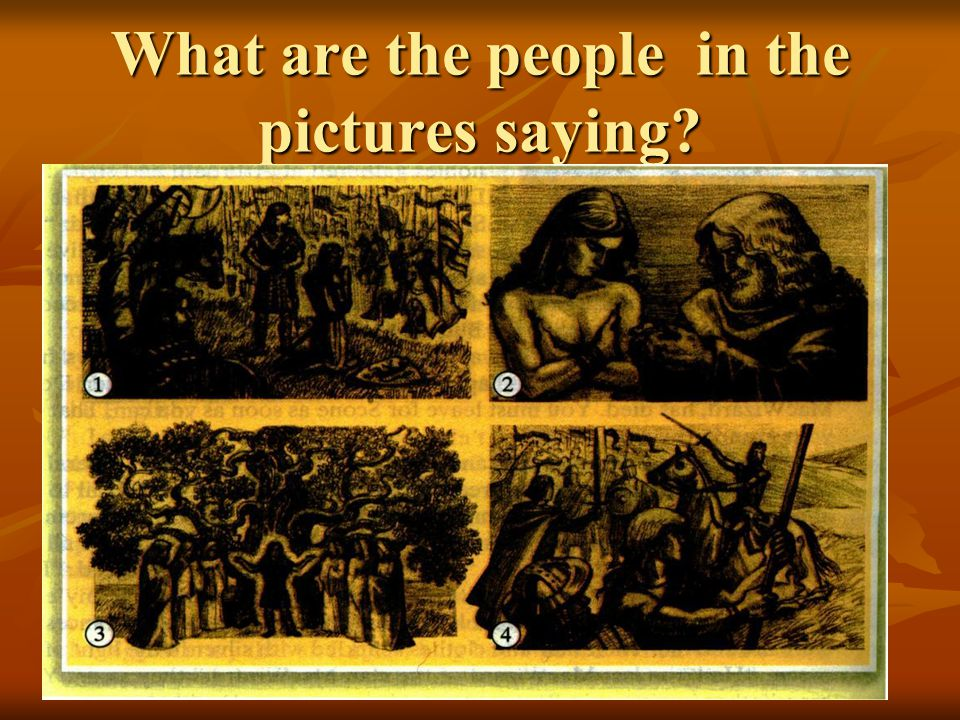 What are the people in the pictures saying