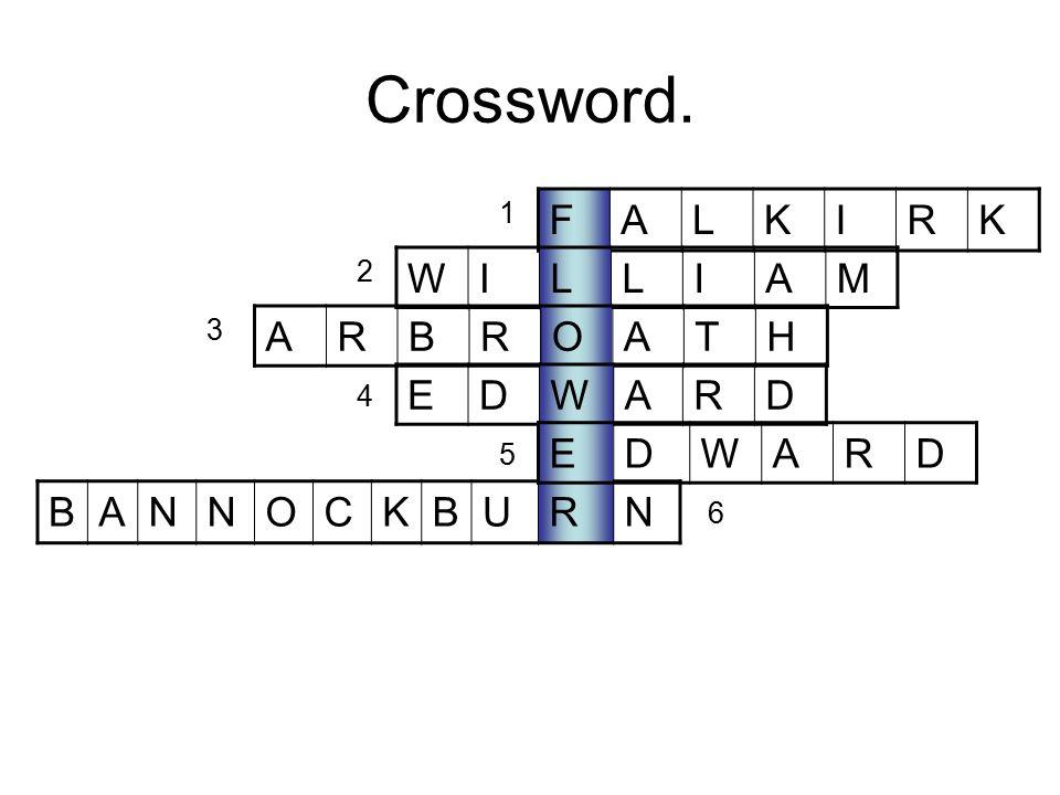 Crossword. F A L K I R W I L A M A R B O T H E D W A R E D W A R B A N