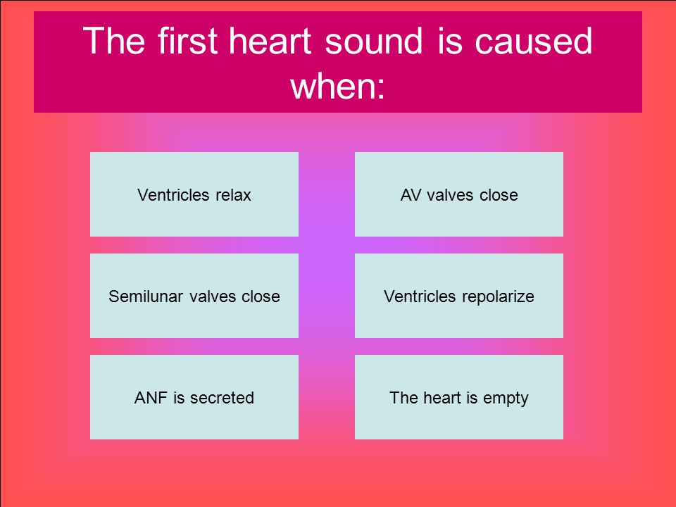 The first heart sound is caused when: