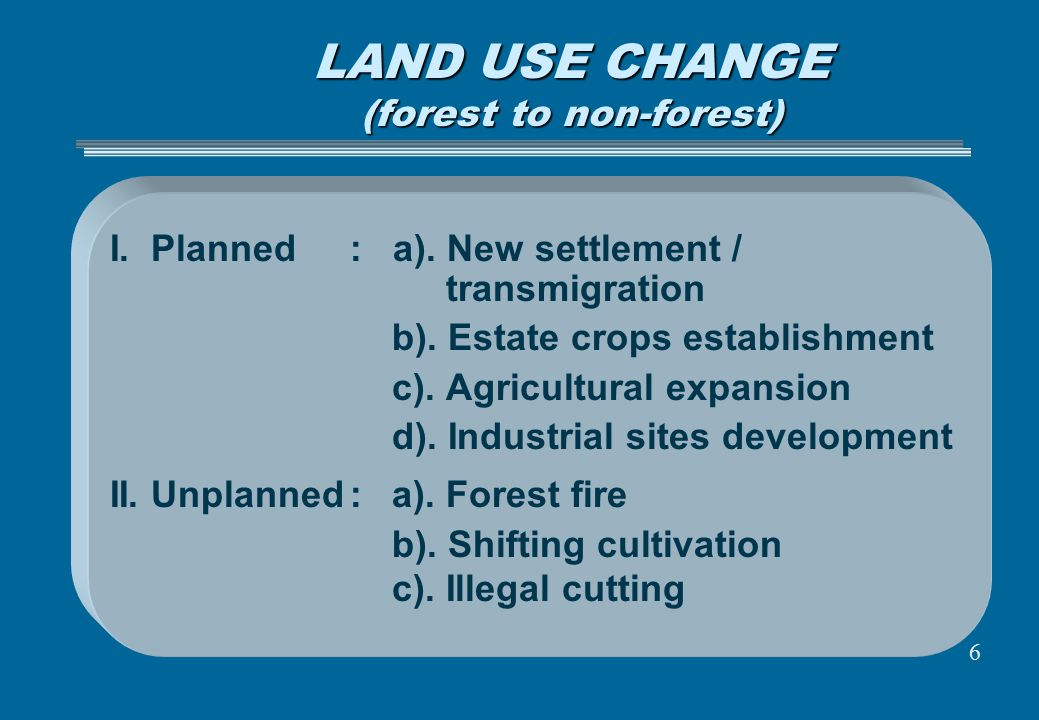 LAND USE CHANGE (forest to non-forest)