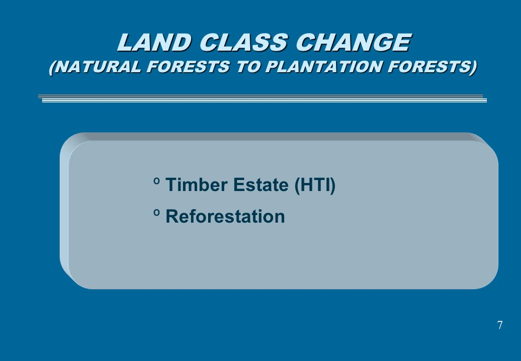 LAND CLASS CHANGE (NATURAL FORESTS TO PLANTATION FORESTS)